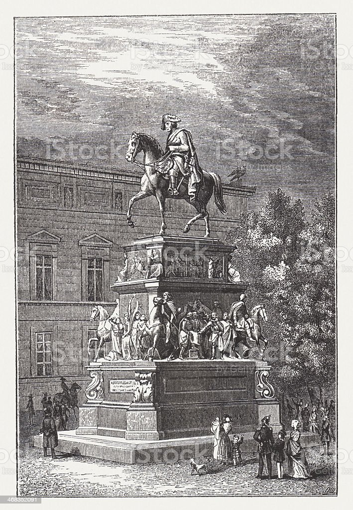 Frederick II (Frederick the Great, 1712-1786), wood engraving, published 1851 vector art illustration