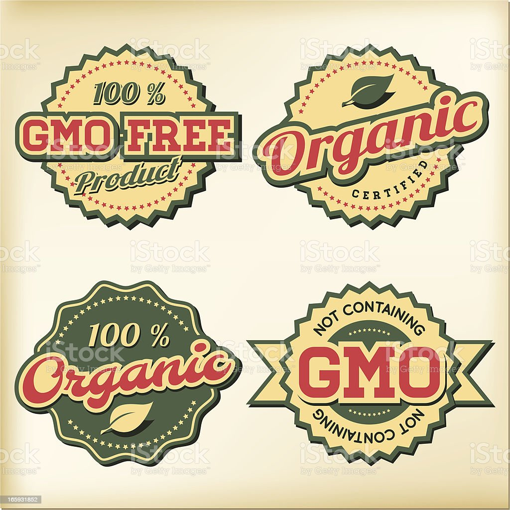 GMO free and Organic food badges royalty-free stock vector art