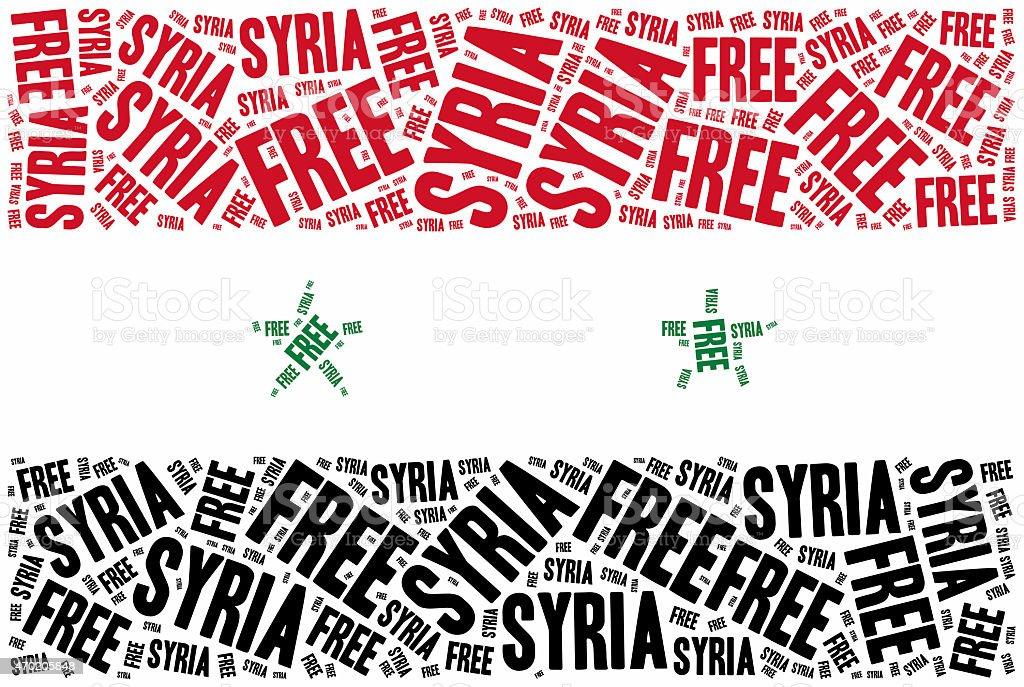 Free Syria. Word cloud illustration. vector art illustration