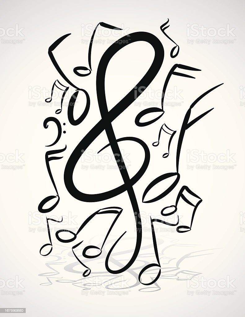 Freehand Music Notes Illustration vector art illustration