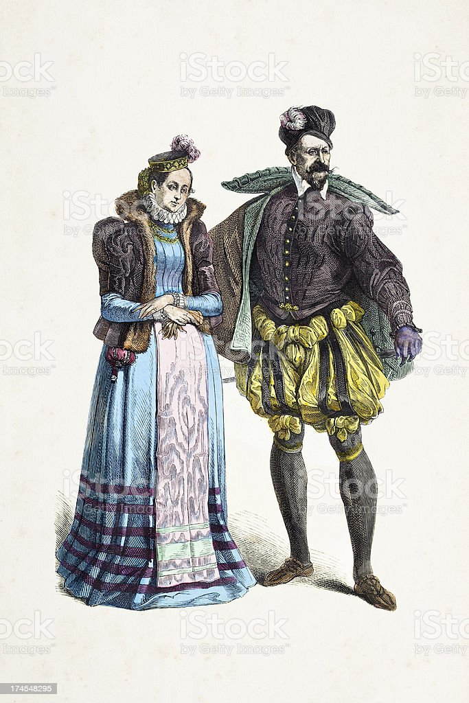 French aristocratic couple in traditional clothing 14th century royalty-free stock vector art