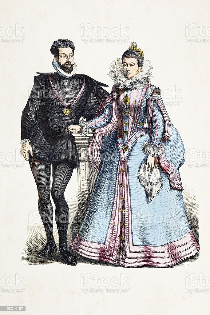 French aristocratic couple in traditional clothing from 16th century royalty-free stock vector art