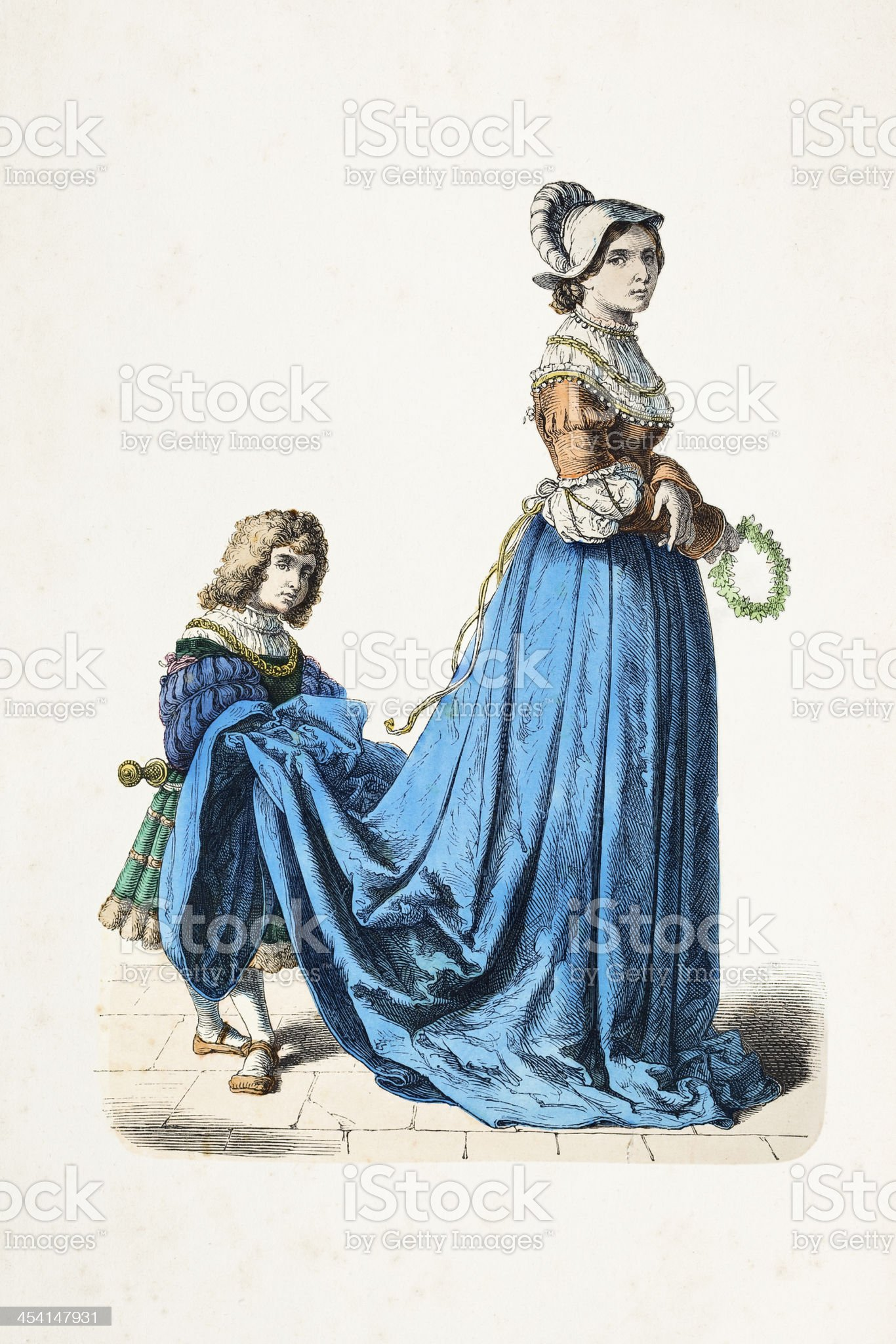 French aristocratic woman with gofer traditional clothing 16th century royalty-free stock vector art