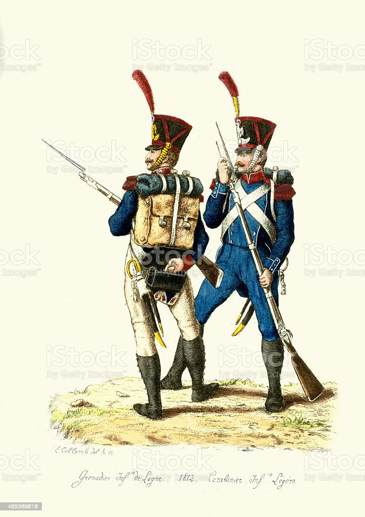 French Army - Grenadier and Carabinier - Line Infantry vector art illustration
