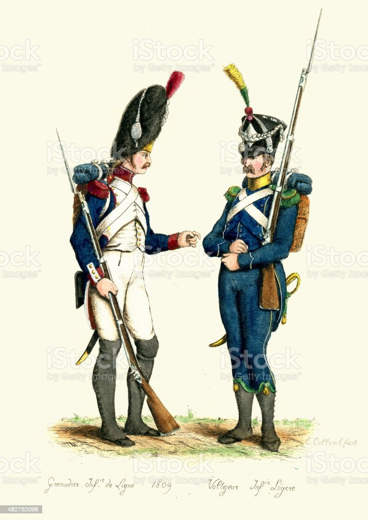 French Army - Grenadier and Voltigeur 1809 vector art illustration