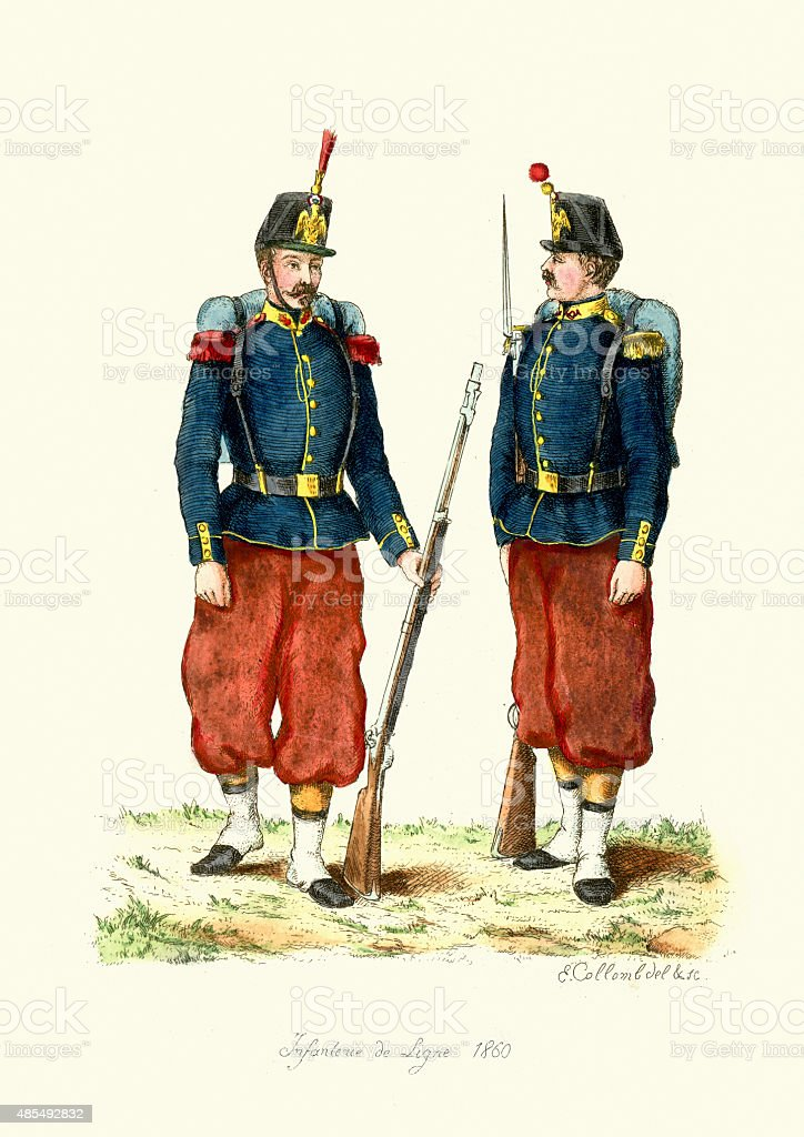 French Army - Line Infantry 1860 vector art illustration