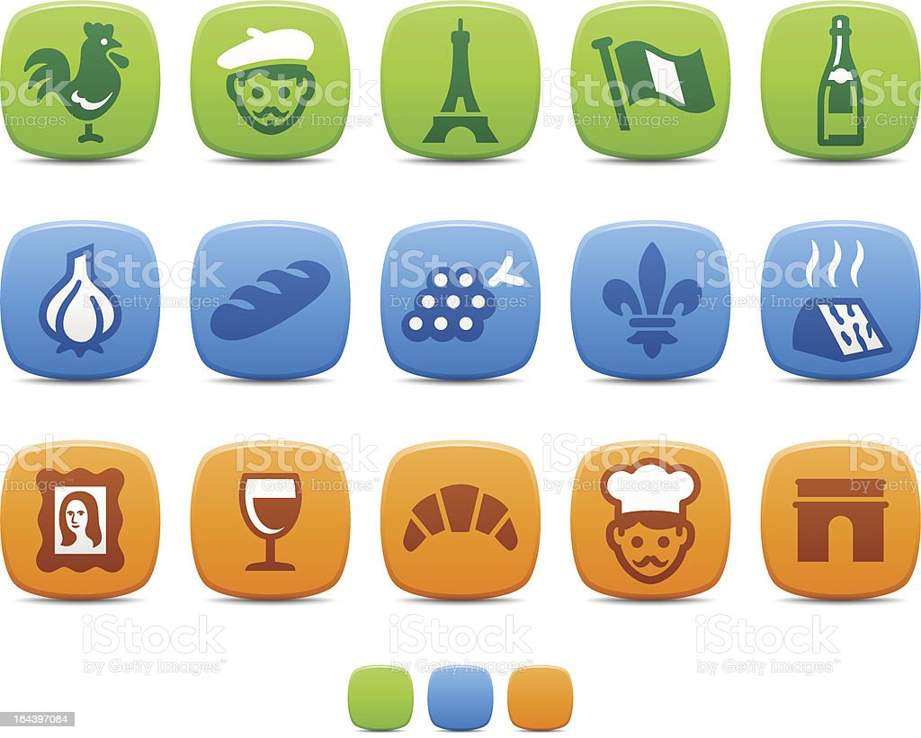 French Culture icons vector art illustration