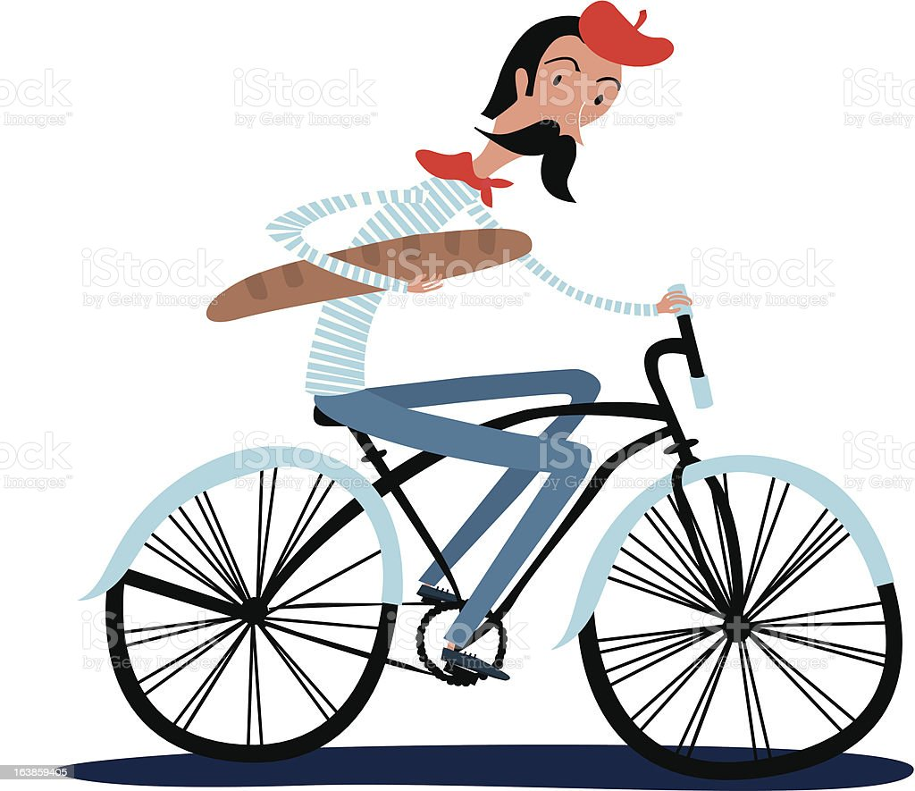French cyclist vector art illustration
