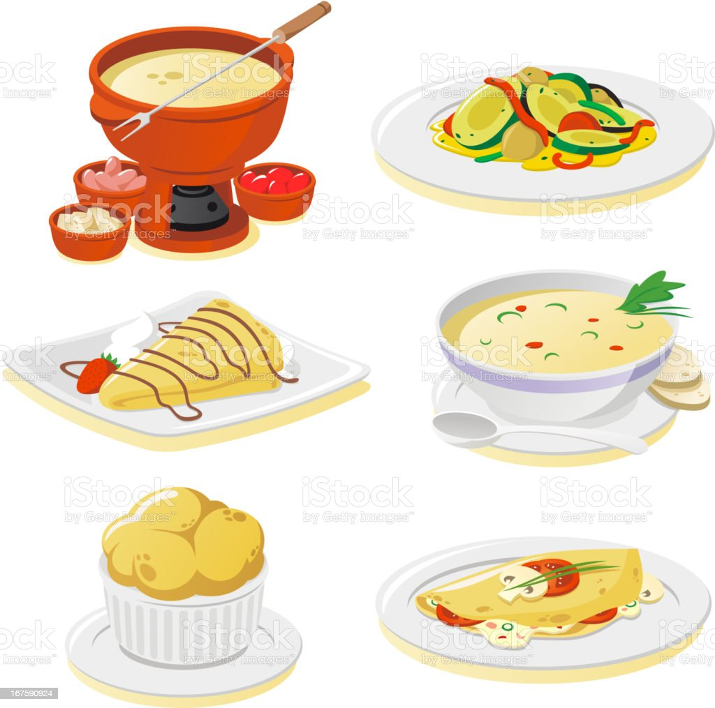 French dishes vector art illustration