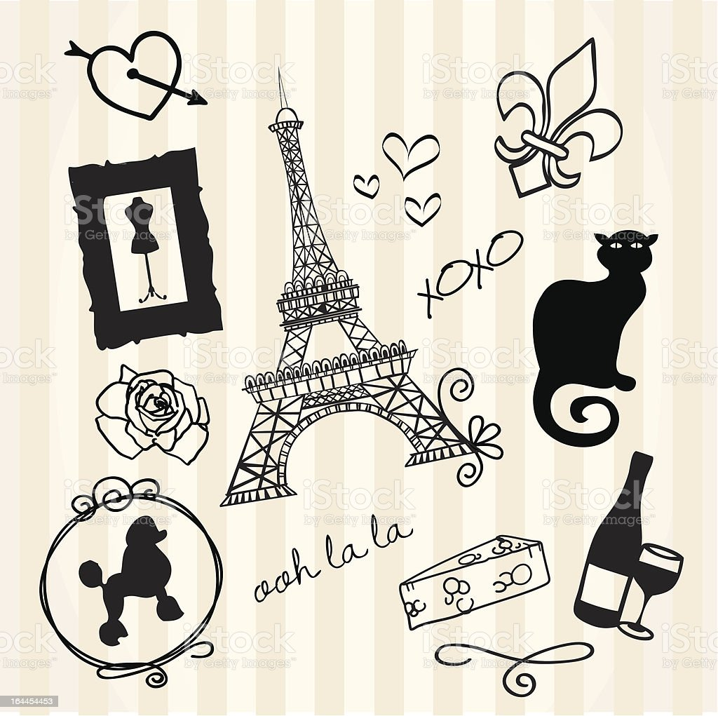 French Doodles vector art illustration
