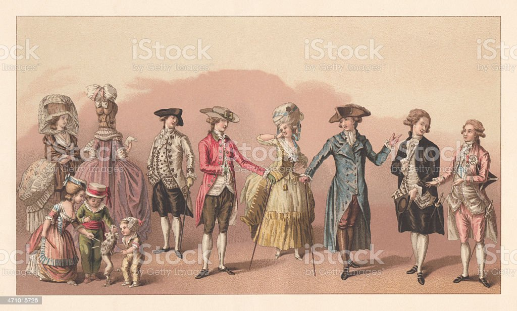 French Fashion under Louis XVI, lithograph, published in 1881 vector art illustration