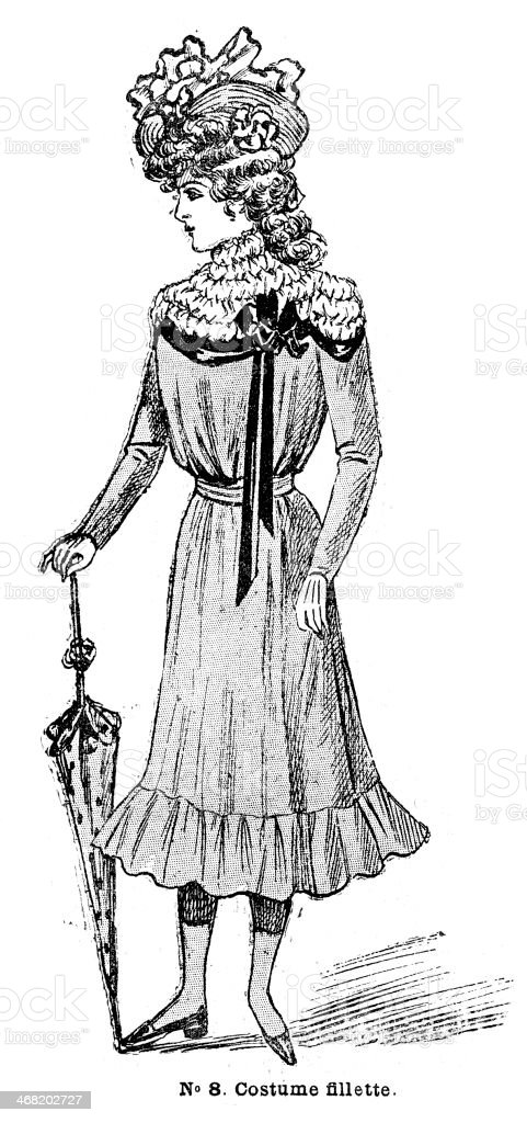 French Girls Fashion 1900 vector art illustration