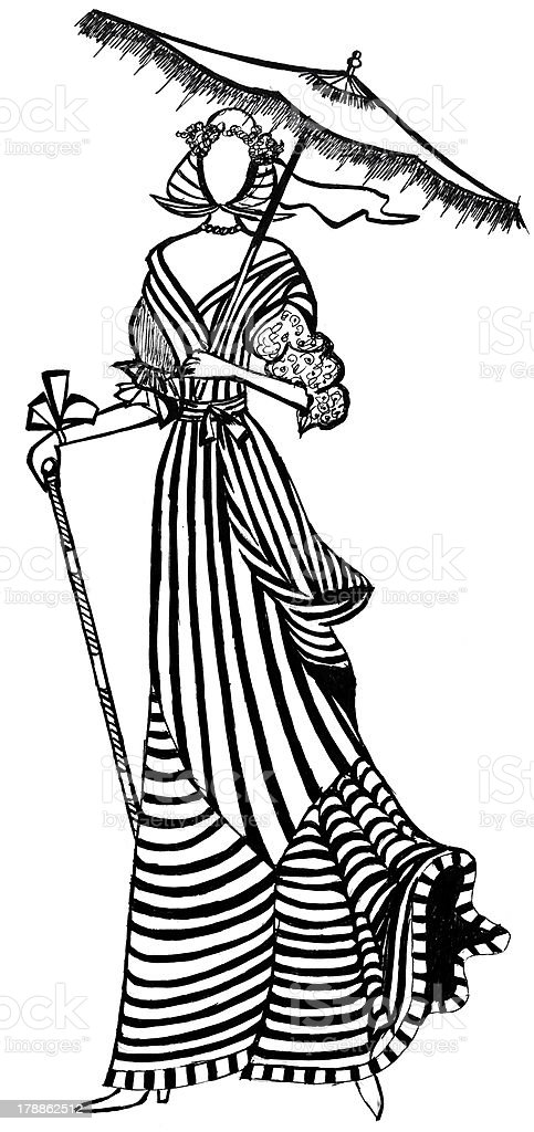 French lady with umbrella on walk royalty-free stock vector art