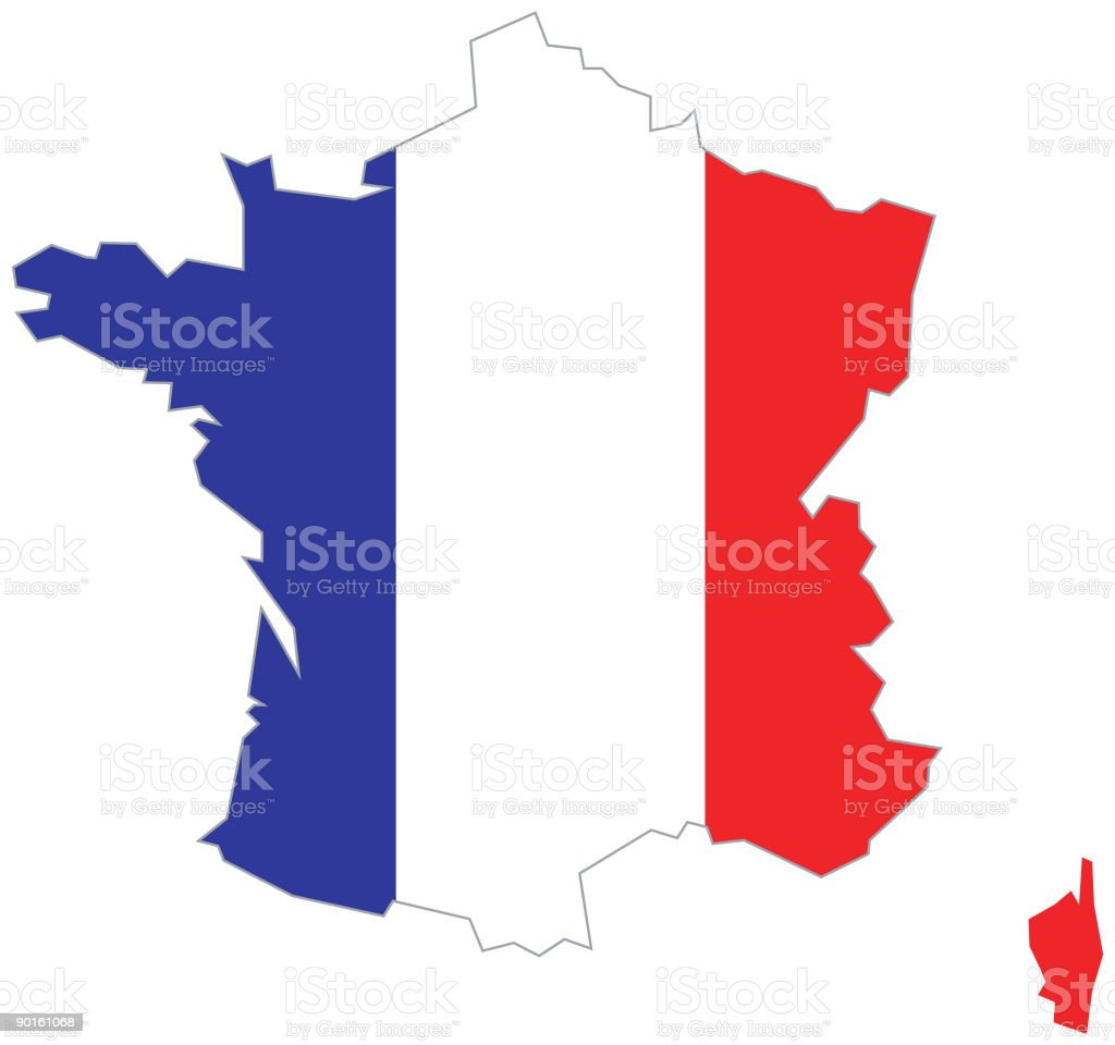 French Map, France with Flag royalty-free stock vector art