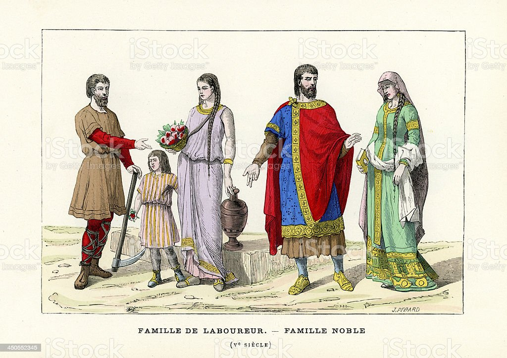 French Period Costumes 5th Century vector art illustration