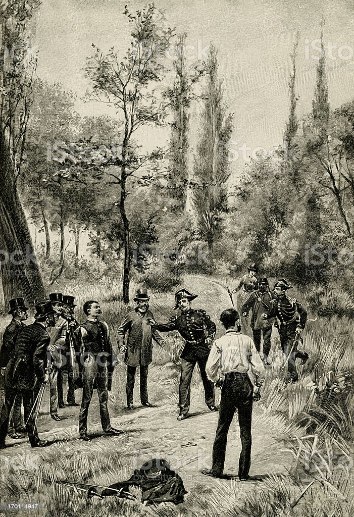 French police stopping a duel royalty-free stock vector art