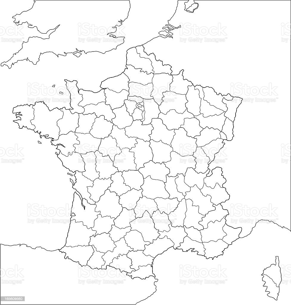 French regional map-line version. vector art illustration