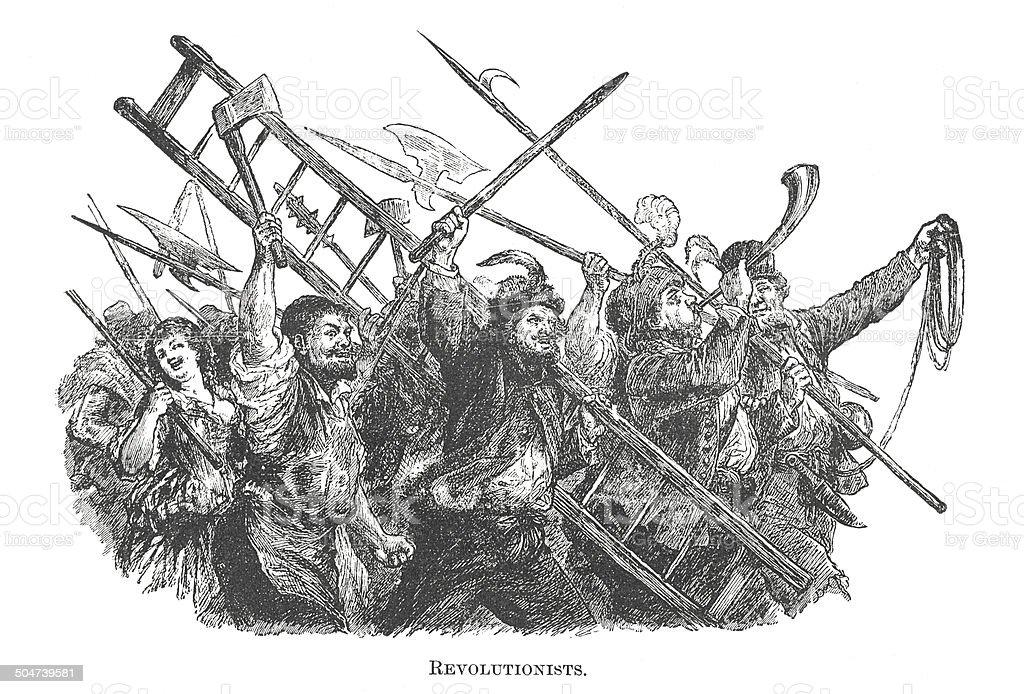 French revolutionists (antique engraving) vector art illustration