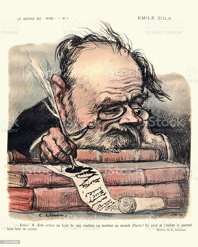 French satirical cartoon of Emile Zola vector art illustration