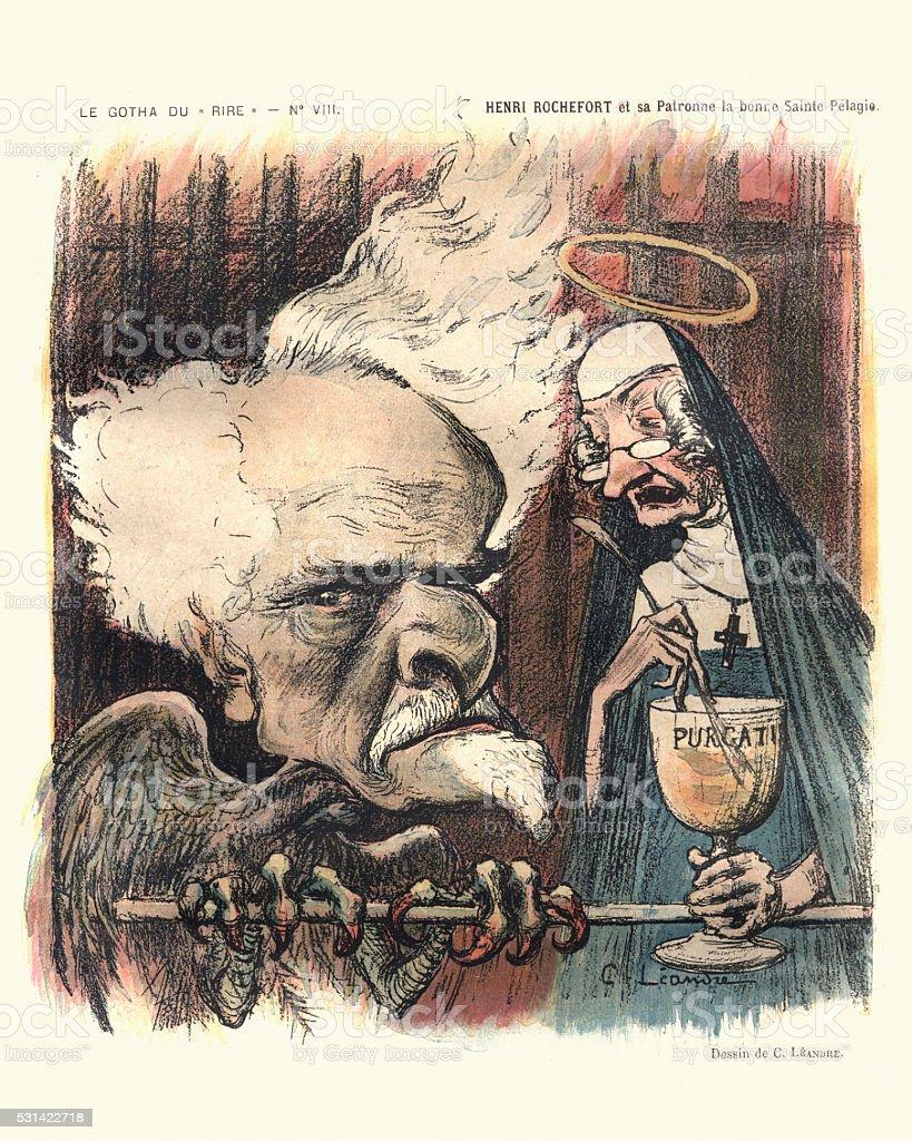 French satirical cartoon - Victor Henri Rochefort vector art illustration