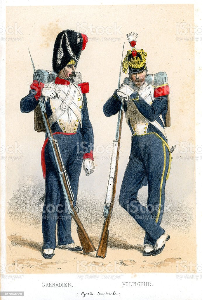 French soldiers of the 19th century royalty-free stock vector art