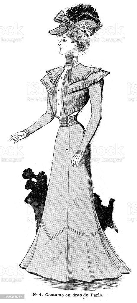 French Womens Fashion 1900 vector art illustration