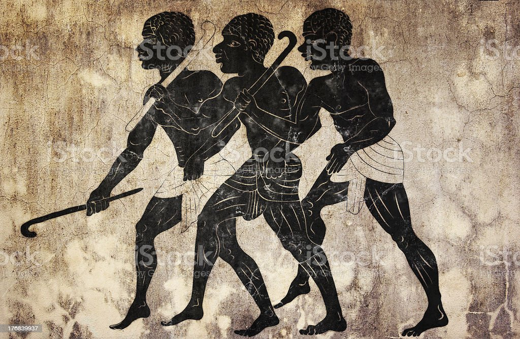 fresco - hunters vector art illustration