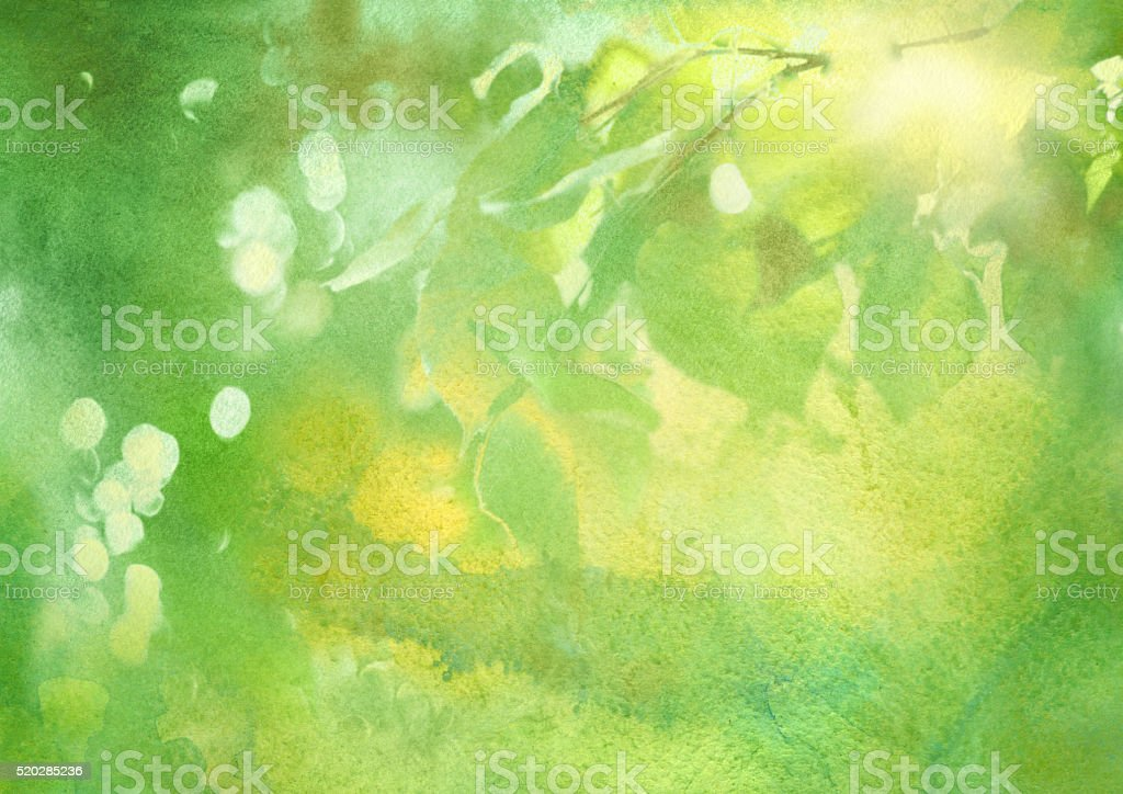 fresh foliage, spring watercolor background vector art illustration