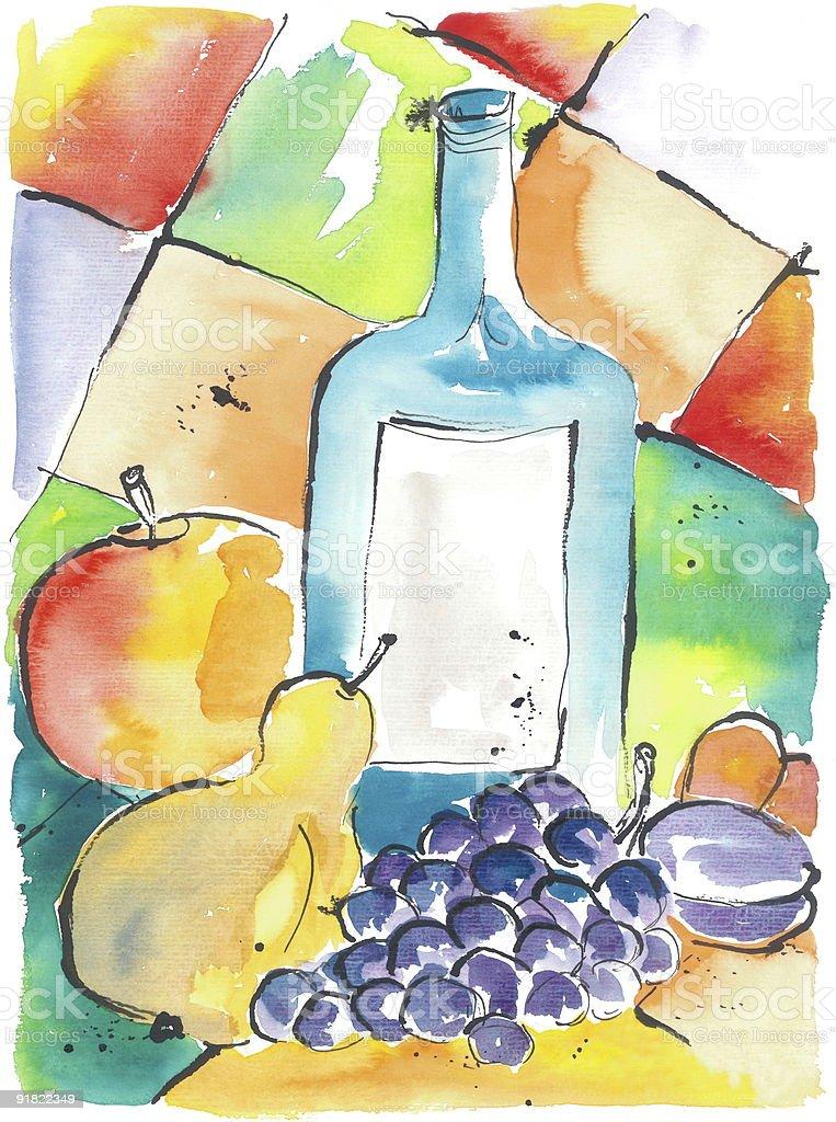 Fresh Fruits and a Bottle vector art illustration