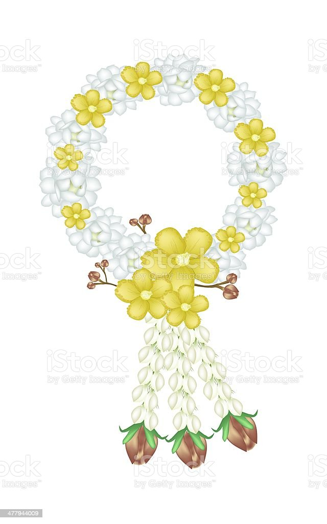 Fresh Jasmine with Simpor Flowers Garland vector art illustration