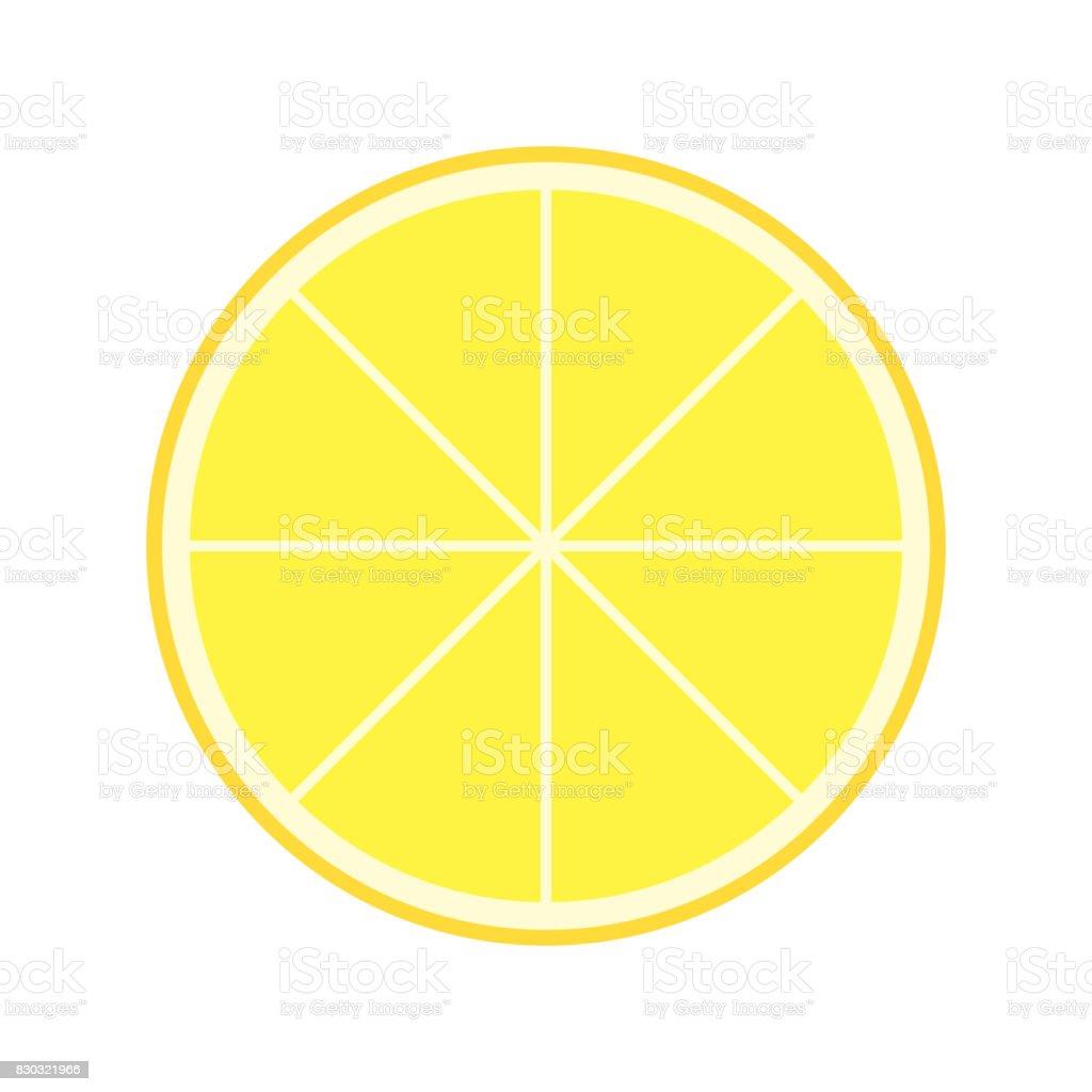 Fresh Juicy Lemon Slice Isolated vector art illustration