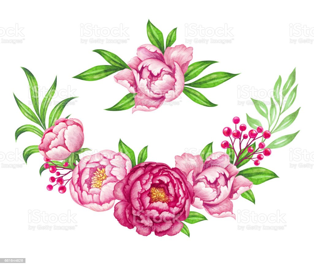 Fresh pink peony garland rose and green leaves watercolor flowers fresh pink peony garland rose and green leaves watercolor flowers bouquet illustration floral dhlflorist Images