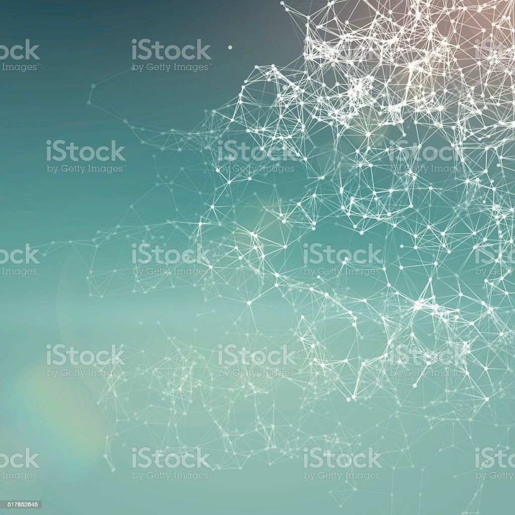 Fresh summer abstract background. Connecting dots, lens flare vector art illustration