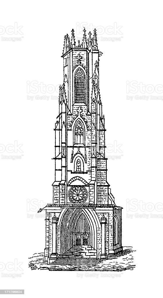 'Fribourg Cathedral, Switzerland | Antique Architectural Illustra' vector art illustration
