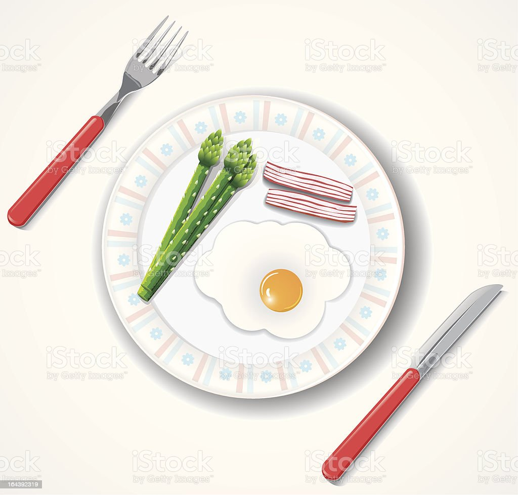 fried egg, bacon and green asparagus browses royalty-free stock vector art