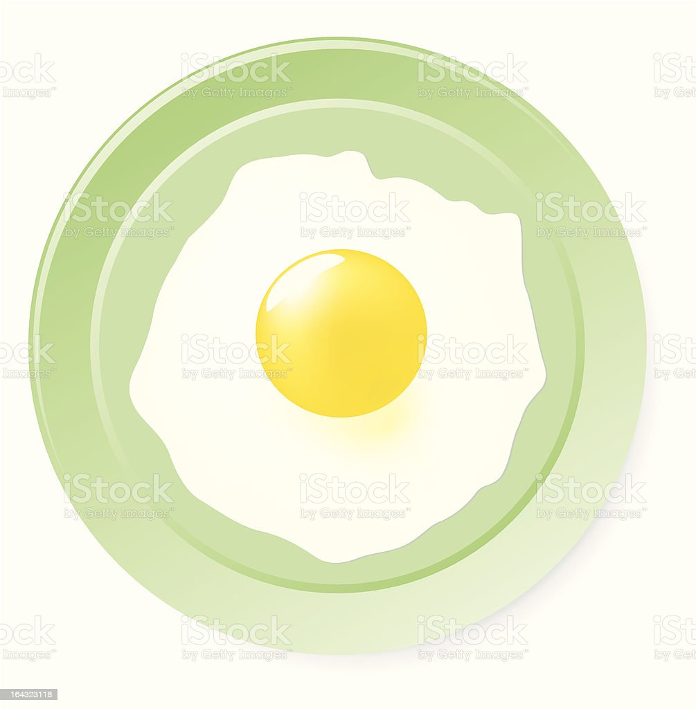 Fried eggs on green plate. royalty-free stock vector art