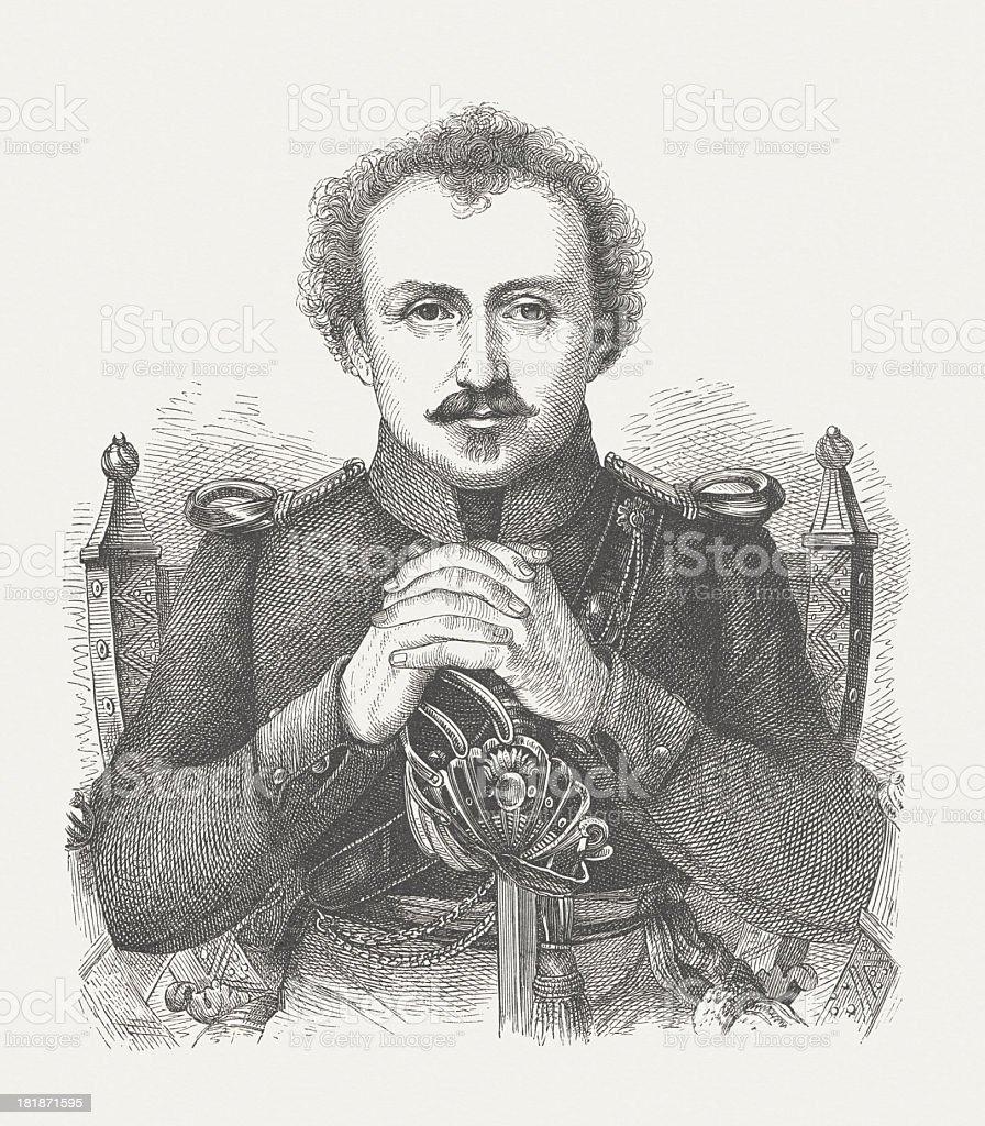Friedrich de la Motte Fouqué (1777-1843), German poet, published 1882 royalty-free stock vector art