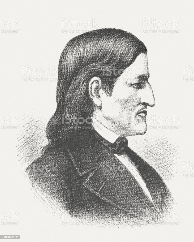 Friedrich Froebel (1782-1852), German educator, wood engraving, published in 1882 royalty-free stock vector art