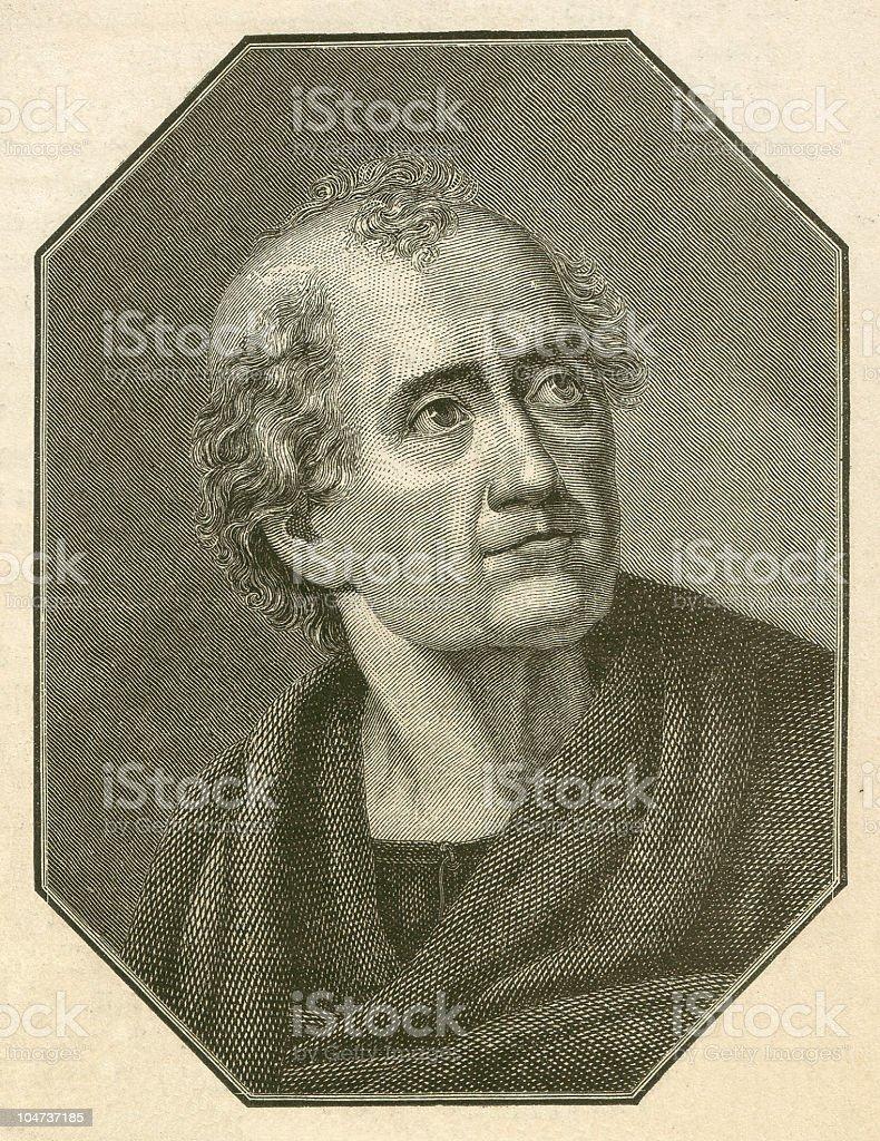 Friedrich Gottlieb Klopstock (1724-1803), German poet, wood engraving, published 1879 royalty-free stock vector art