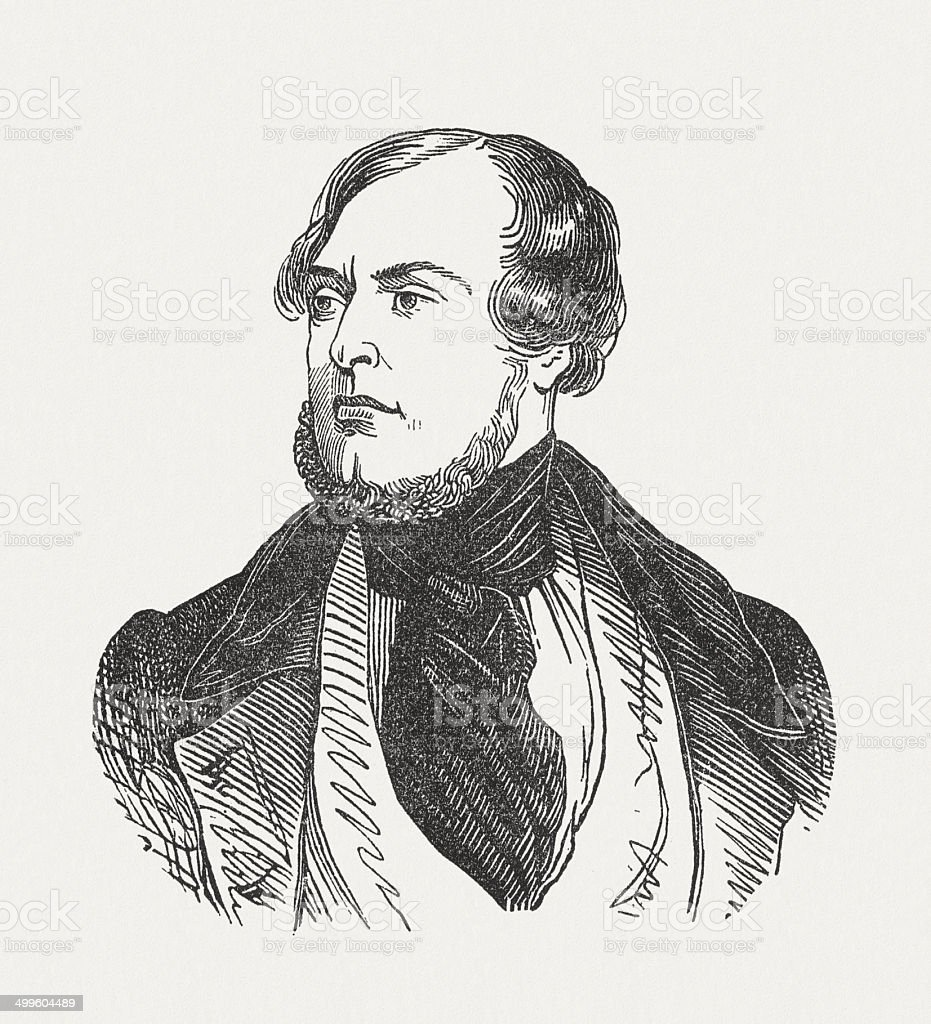 Friedrich Halm (1806-1871), Austrian poet, wood engraving, published in 1870 royalty-free stock vector art