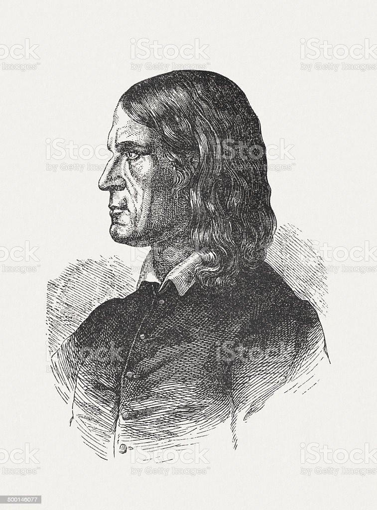 Friedrich Rückert (1788-1866), German poet, published in 1871 royalty-free stock vector art