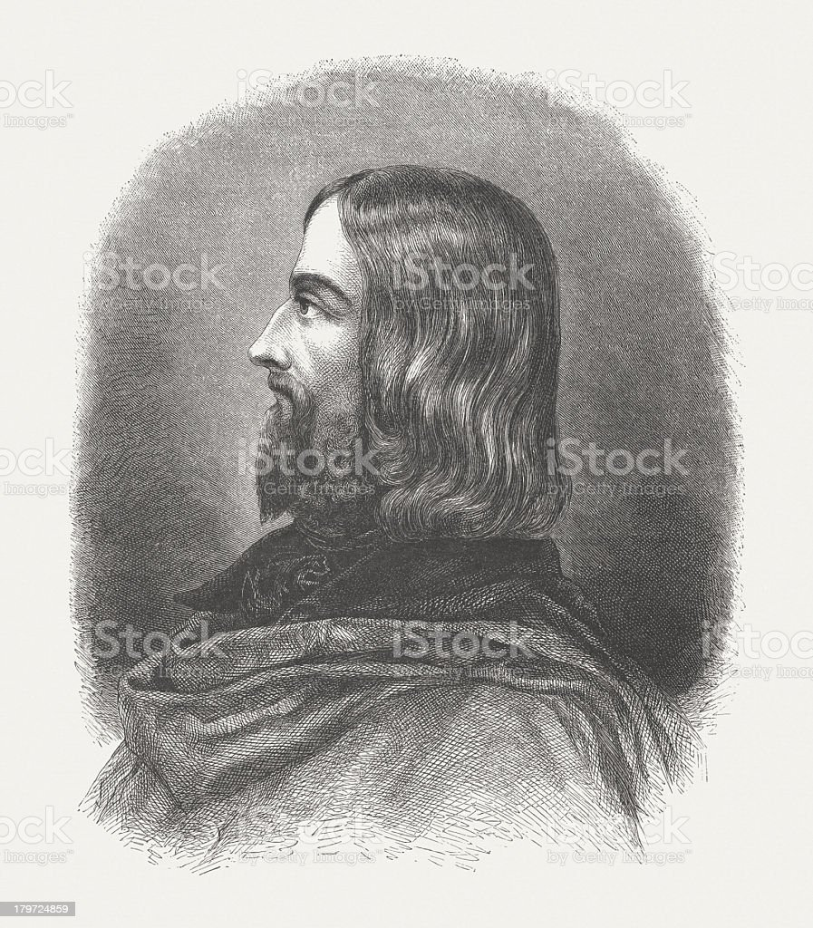 Friedrich von Sallet (1812-1843), German poet, wood engraving, published 1882 royalty-free stock vector art