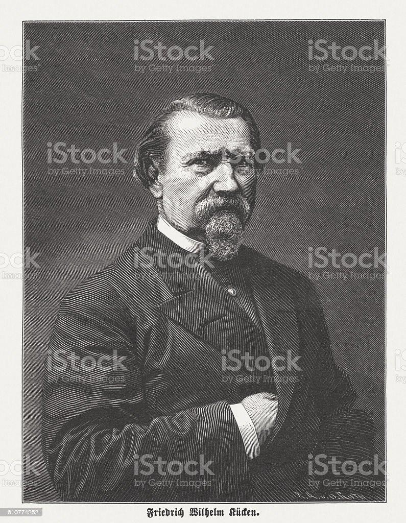 Friedrich Wilhelm Kücken (1810-1882), German composer, wood engraving, published 1882 vector art illustration