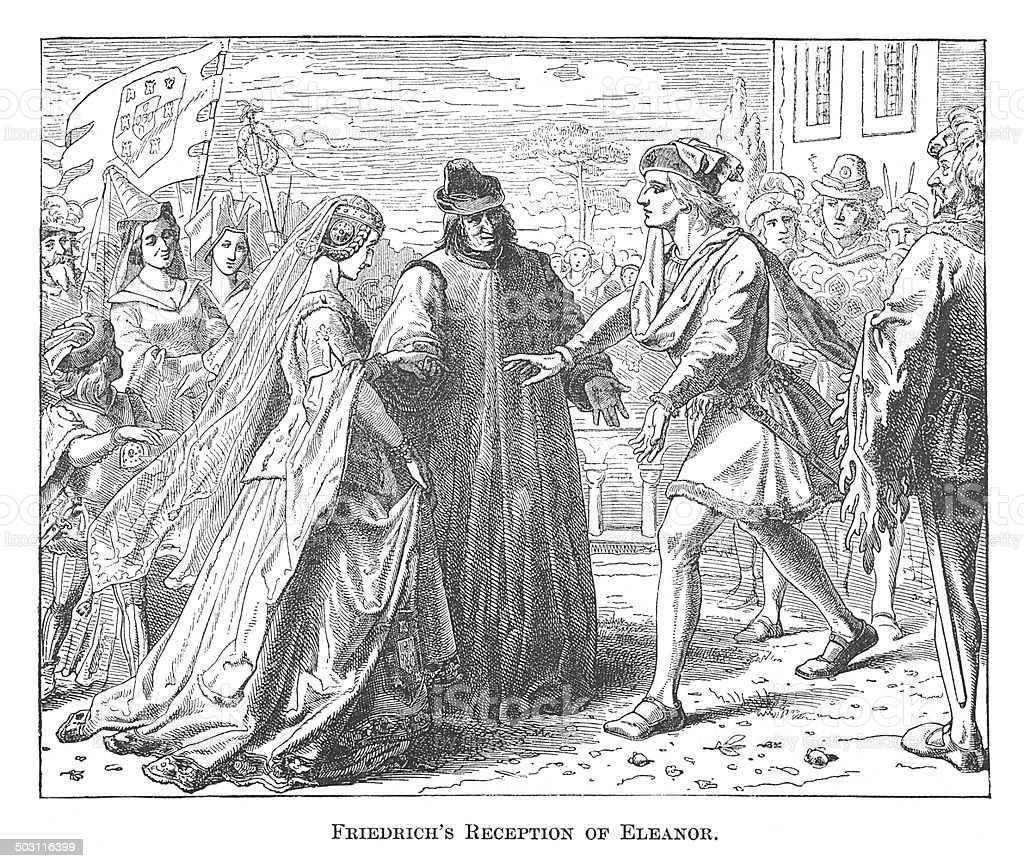 Friedrich's Reception of Eleanor (antique engraving) royalty-free stock vector art