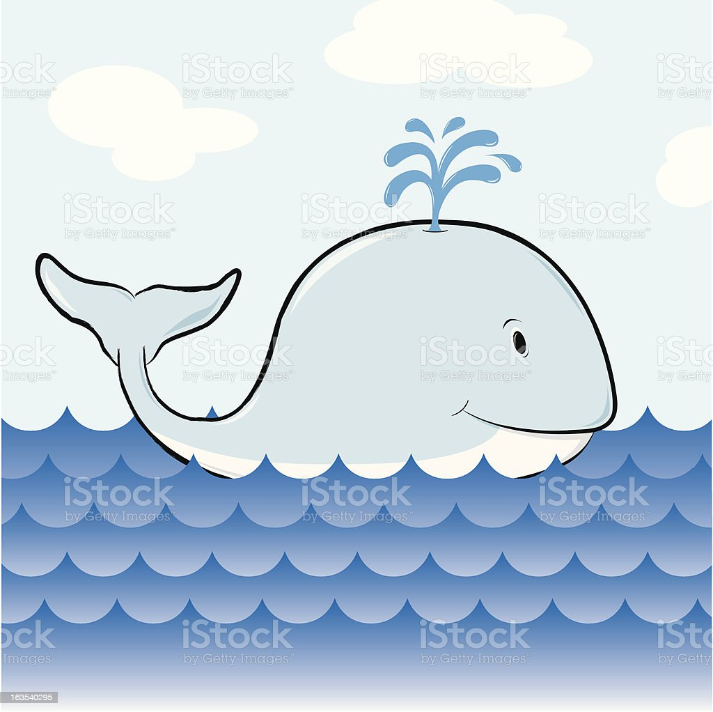 Friendly blue whale royalty-free stock vector art