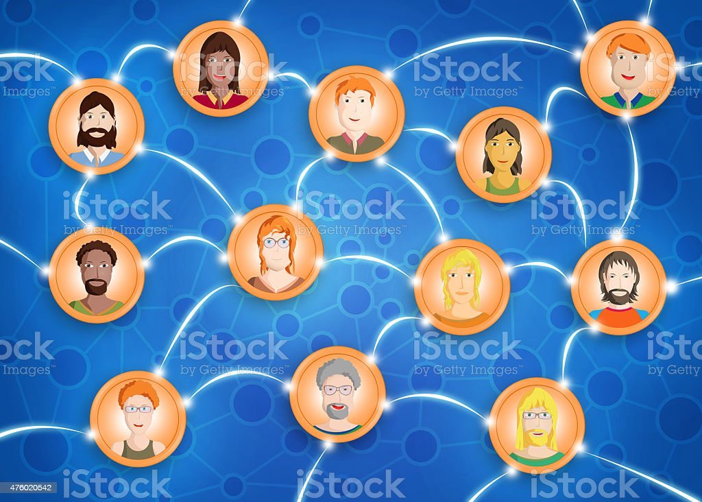 Friendly faces connected in a social network, cartoon style vector art illustration