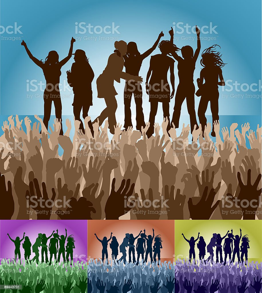 Friends on stage royalty-free stock vector art