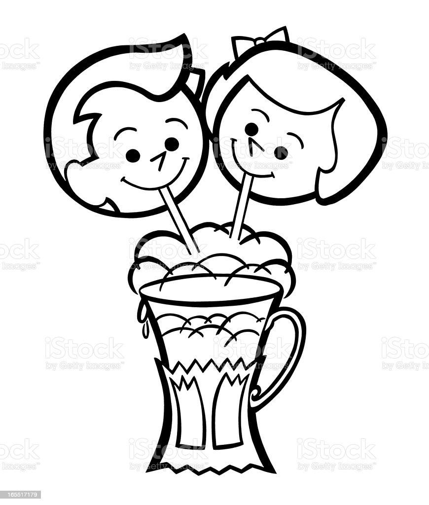 Friends Sharing a Milkshake vector art illustration