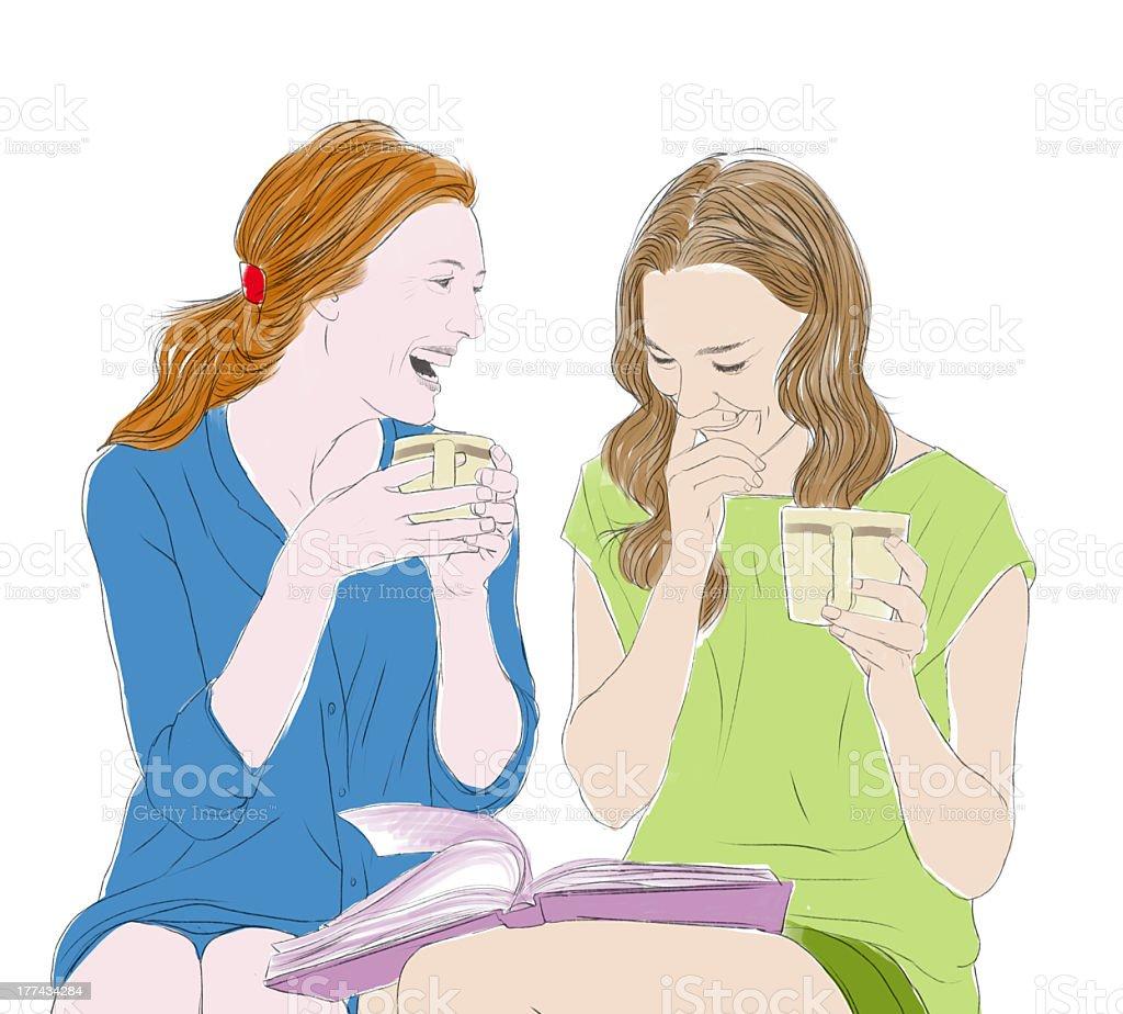 Friends talking vector art illustration