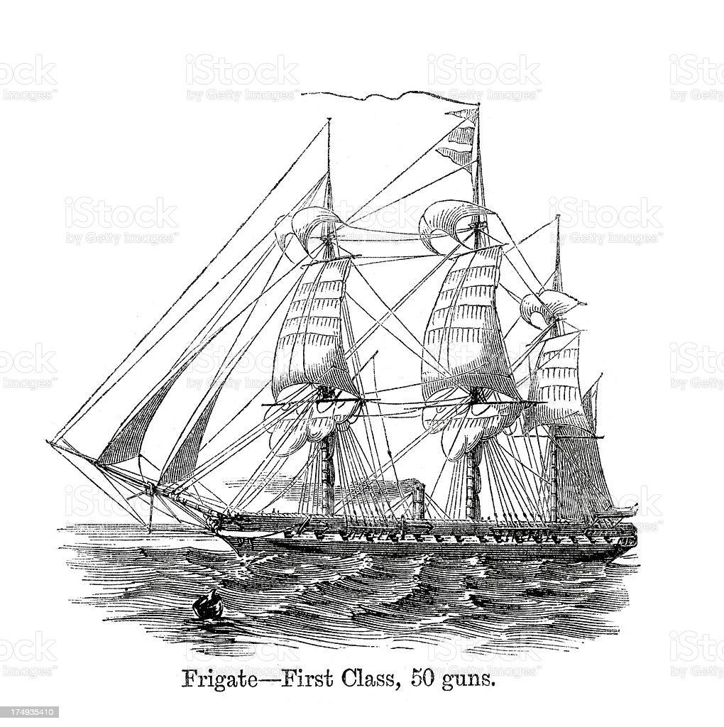 'Frigate First Class, 50 Guns' vector art illustration
